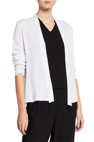 Eileen Fisher Open-Front Long-Sleeve Shaped Organic Linen Cardigan