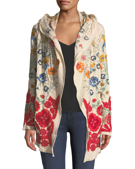 Johnny Was Peryl Open-Front Long-Sleeve Embroidered Hoodie Jacket