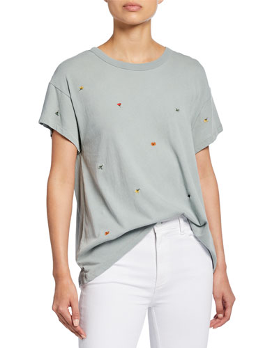 The Boxy Crew Short-Sleeve Tee with Multi Poppy Embroidery