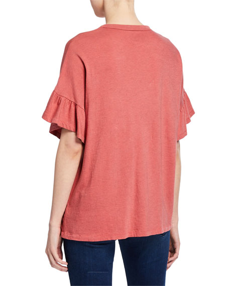 The Great The Ruffle Sleeve Crewneck Tee