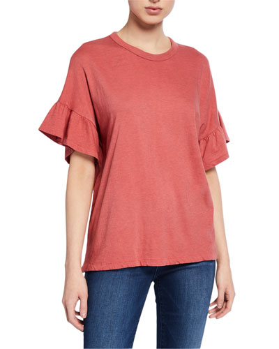 The Ruffle Sleeve Crewneck Tee