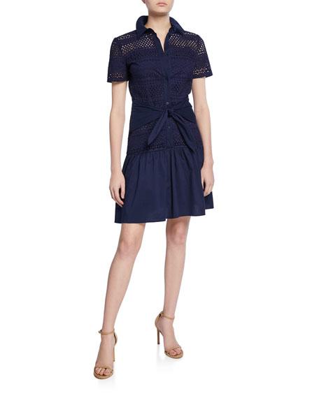 Shoshanna Allery Eyelet Short-Sleeve Button-Down Shirt Dress