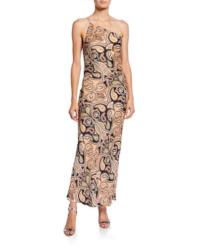 Hendrix Paisley One-Shoulder Bias Slip Dress