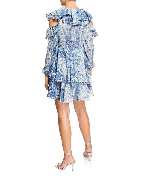 Elliatt Elkus Metal Painted Cold-Shoulder Ruffled V-Neck Dress