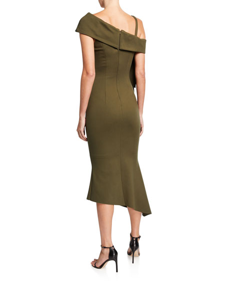 Elliatt Platform Asymmetric Side-Drape Ponte Dress
