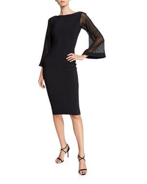 11e55c73 Off-the-Shoulder A-Line Midi Dress with Sheer Skirt Insets. $1,090 · Chiara  Boni La Petite Robe Bateau-Neck Mesh-Sleeve Cocktail Dress. Favorite. Quick  Look