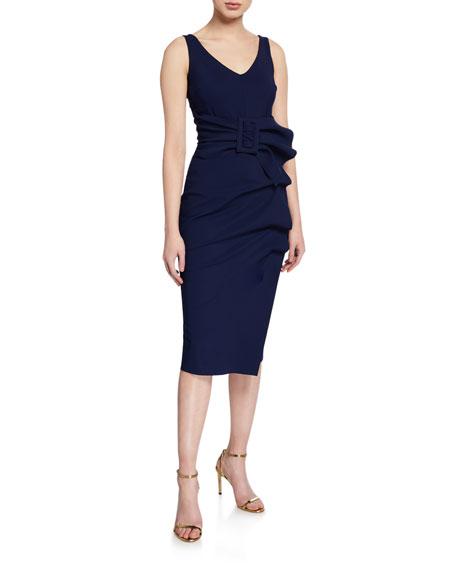 Chiara Boni La Petite Robe V-Neck Sleeveless Belted Cocktail Dress w/ Side Detail