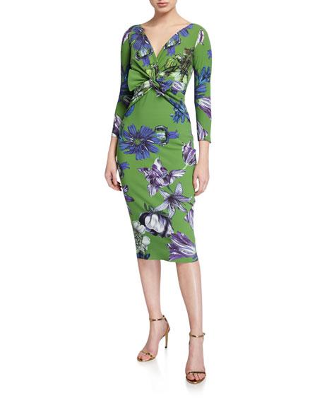 Chiara Boni La Petite Robe Floral V-Neck Knot-Front 3/4-Sleeve Dress