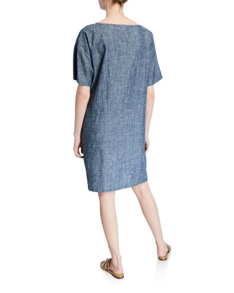 Eileen Fisher Petite Chambray Short-Sleeve Shift Dress