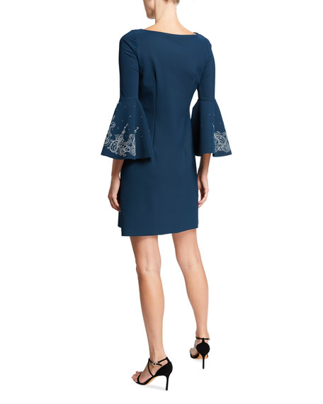 Chiara Boni La Petite Robe Natalia Bell-Sleeve Dress with Embroidery