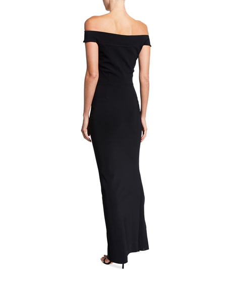 Chiara Boni La Petite Robe Banded Off-the-Shoulder Side Drape Column Gown with Slit