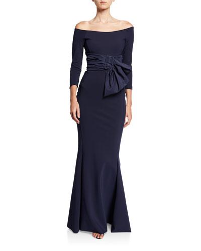 Off-Shoulder 3/4-Sleeve Belted Gown