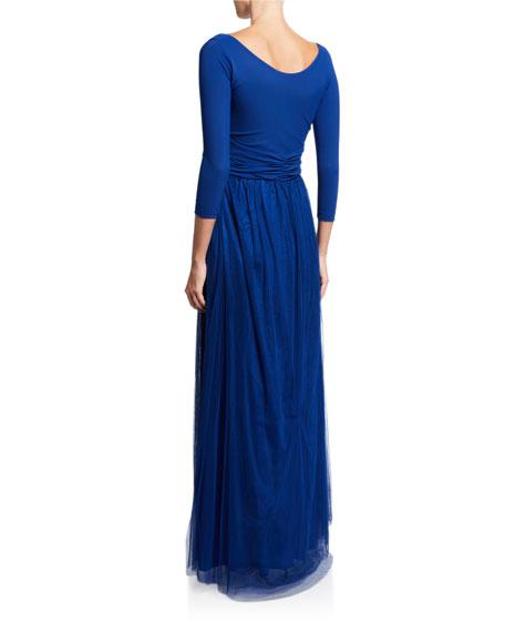 Chiara Boni La Petite Robe V-Neck 3/4-Sleeve A-Line Gown with Sheer Skirt Overlay