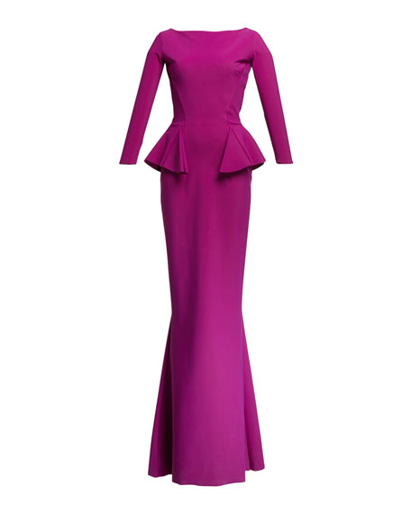Chiara Boni La Petite Robe Bateau-Neck 3/4-Sleeve Peplum Column Gown