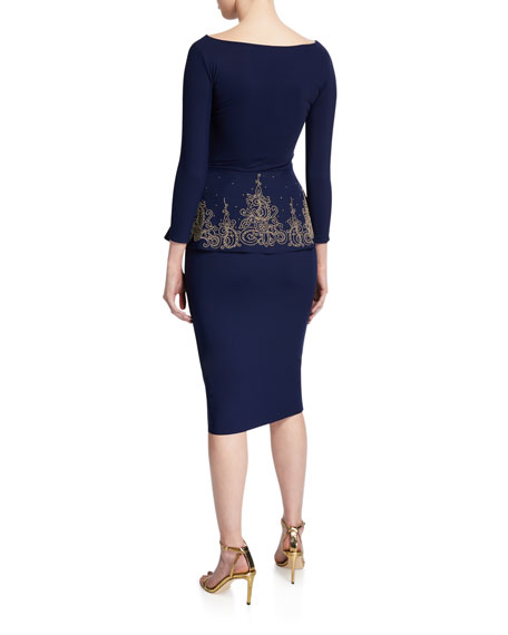 Chiara Boni La Petite Robe Bateau-Neck 3/4-Sleeve Embroidered Peplum Dress