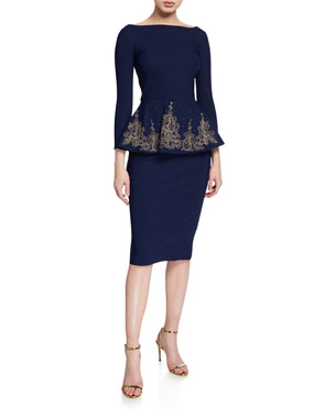 5b09e994ea76 Chiara Boni La Petite Robe Bateau-Neck 3/4-Sleeve Embroidered Peplum Dress