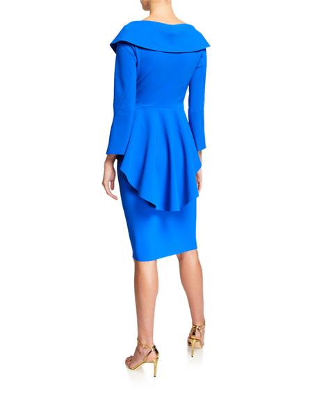 Chiara Boni La Petite Robe V-Neck High-Low Peplum Cocktail Dress