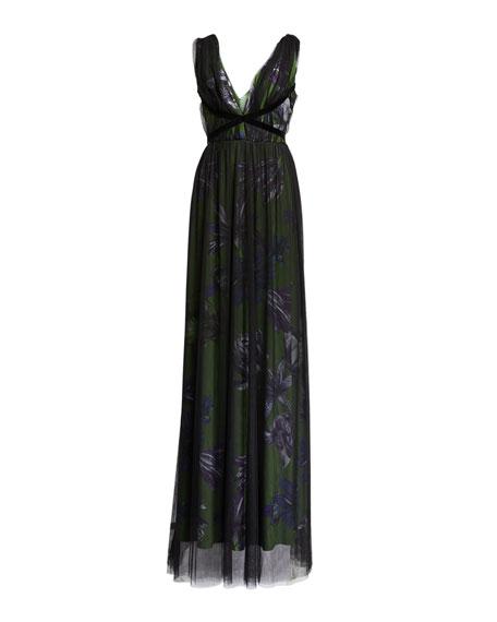 Chiara Boni La Petite Robe Overlay Floral V-Neck Gown with Band Trim
