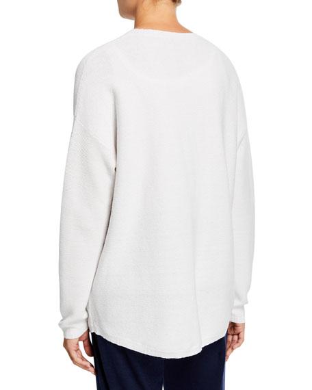 Eileen Fisher Plus Size Organic Cotton/Hemp V-Neck Button-Front Cardigan