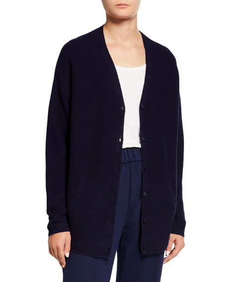Eileen Fisher Plus Size Organic Cotton/Hemp V-Neck Button-Front Cardigan