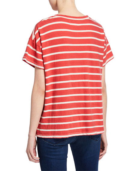 The Great The Boxy Crew Striped Short-Sleeve Cotton Tee