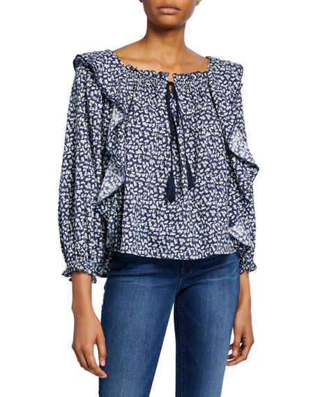 The Great The Song Floral-Print Ruffle Top