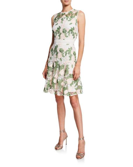 Shoshanna Roseia Floral Embroidered Sleeveless Lace A-Line Dress