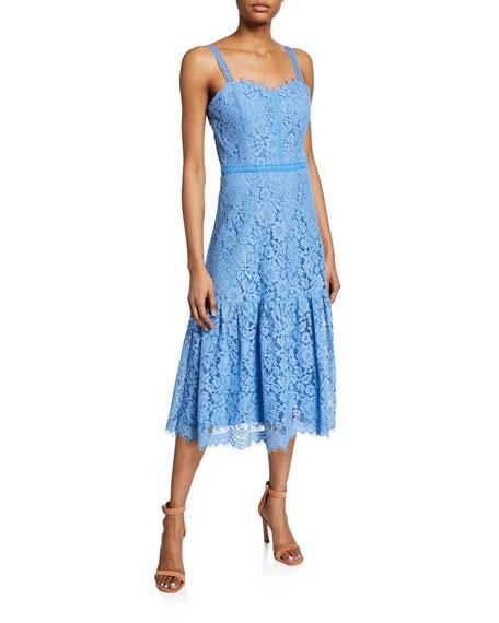 Shoshanna Omira Sweetheart Sleeveless Floral Lace Midi Dress