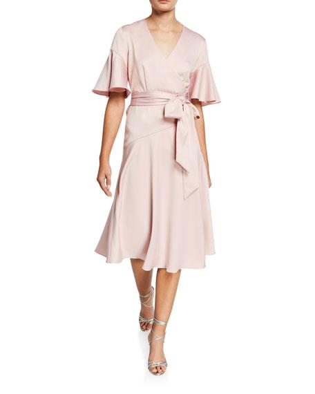 Elliatt Famous V-Neck Elbow-Sleeve Wrap Dress