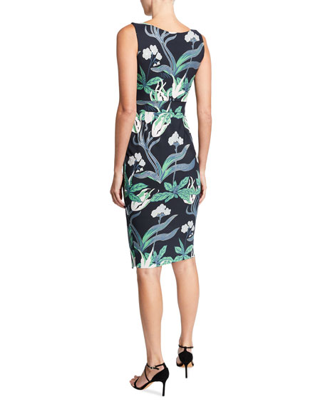 Chiara Boni La Petite Robe Floral Sleeveless Faux-Wrap Side-Drape Dress