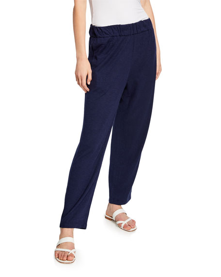 Eileen Fisher Plus Size Twist Organic Cotton Tapered Ankle Pant