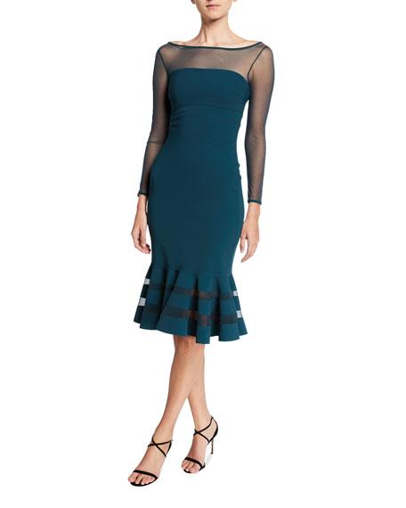 Chiara Boni La Petite Robe Boat-Neck Long-Sleeve Flounce-Hem Illusion Dress