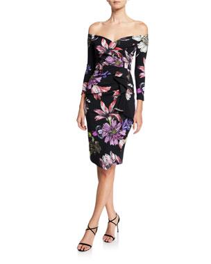ac1133ea9866 Chiara Boni La Petite Robe Floral Off-the-Shoulder 3/4-Sleeve