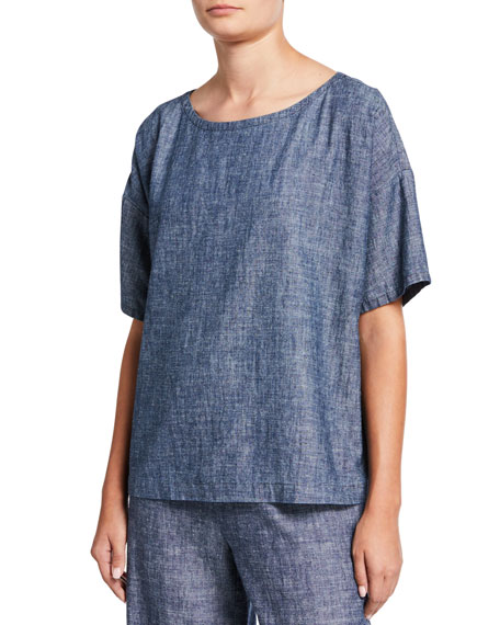 Eileen Fisher Petite Chambray Scoop-Neck Short-Sleeve Top