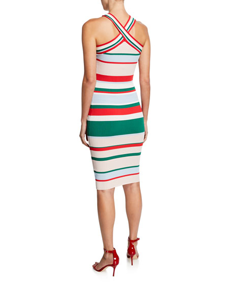 Ted Baker London Striped Bodycon Halter Dress