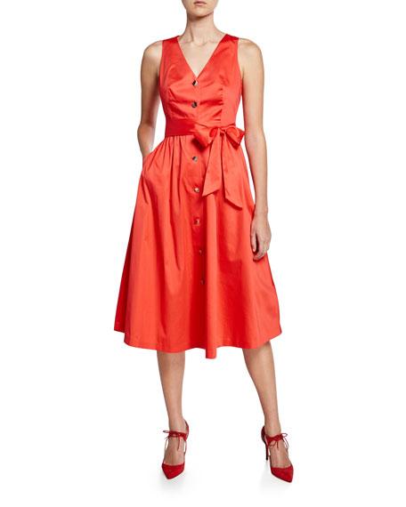 Ted Baker London V-Neck Button-Down Stretch-Cotton Midi Dress