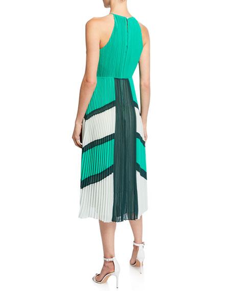 Ted Baker London Colorblock Pleated Georgette Halter Dress