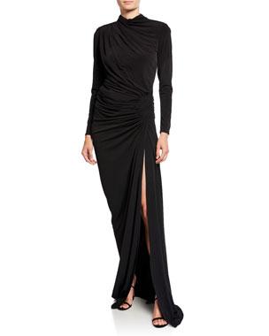 1c97a922c38e2 Jovani High-Neck Long-Sleeve Shirred Long Dress with Slit
