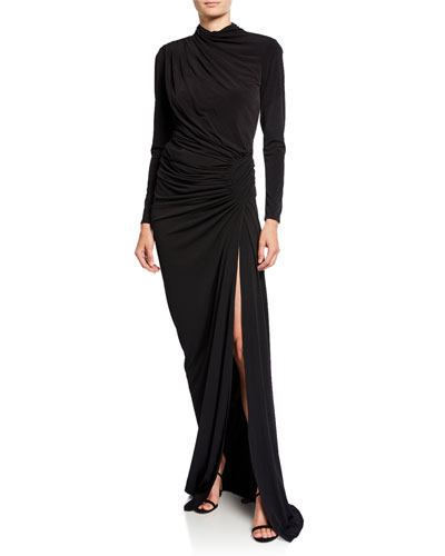 High-Neck Long-Sleeve Shirred Long Dress with Slit