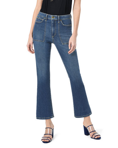 The Callie High-Rise Boot-Cut Jeans w/ Utility Pockets