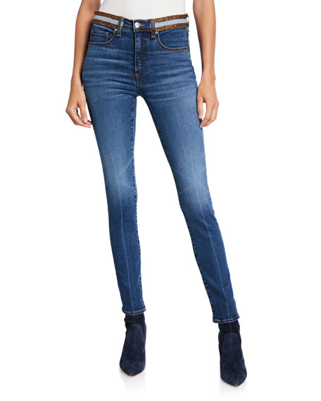 Veronica Beard Kate High-Rise Skinny with Striped Waistband
