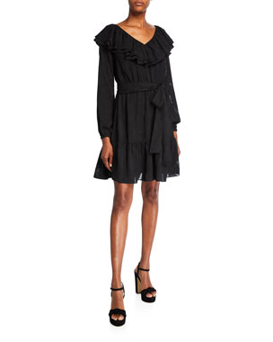 MICHAEL Michael Kors Ruffle V-Neck Long-Sleeve Dress