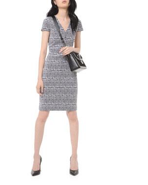 MICHAEL Michael Kors Plaid Jacquard Short-Sleeve Bodycon Dress
