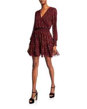 MICHAEL Michael Kors Printed Blouson-Sleeve Short A-Line Dress