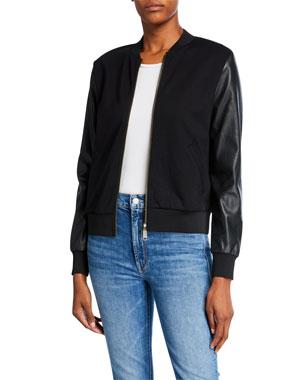 MICHAEL Michael Kors Faux-Leather Ponte Bomber Jacket