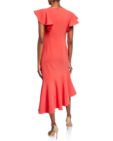 Image 2 of 2: Shoshanna Sula Short-Sleeve Asymmetric Scuba Dress with Ruffle Details