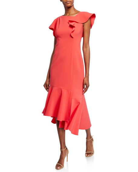 Image 1 of 2: Shoshanna Sula Short-Sleeve Asymmetric Scuba Dress with Ruffle Details
