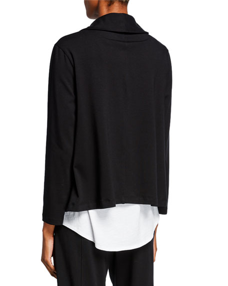 Eileen Fisher Shawl Collar Organic Cotton Jersey Jacket
