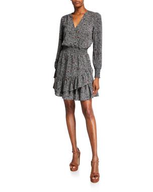 MICHAEL Michael Kors Boho Block Long-Sleeve Ruffle Dress
