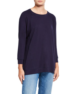 e62a326f Eileen Fisher Crewneck Long-Sleeve Jersey Top w/ Side Seams